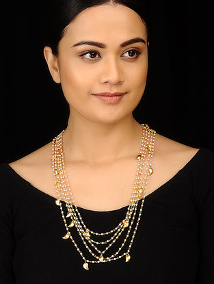 Classic Gold Tone Pearl Necklace with Earrings (Set of 2)