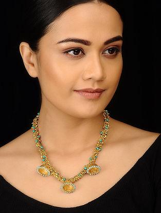 Turquoise Gold Tone Jhumki Necklace