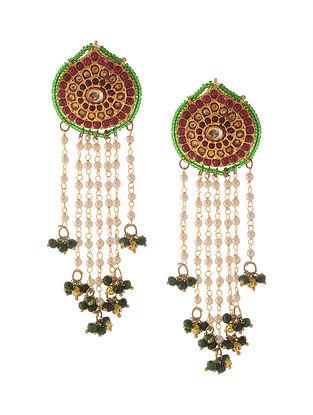 Red Green Punjabi Jadau Earrings