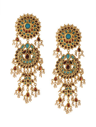 Turquoise Red Gold Tone Chandbali Earrings