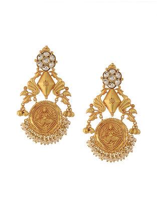 Gold Tone Temple Work Kundan Inspired Chandbali Earrings