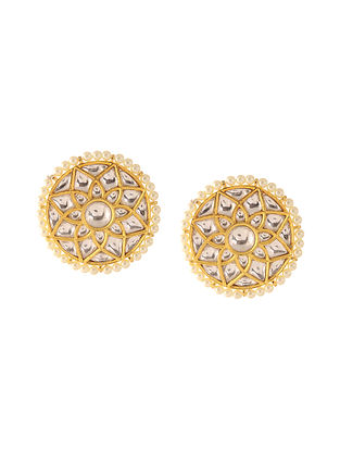 Classic Gold Tone Kundan Inspired Pearl Stud Earrings