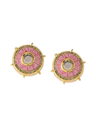 Pink Green Kundan Inspired Handpainted Stud Earrings