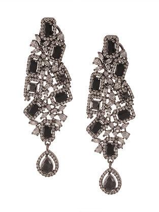 Black Silver Tone Zirconia Dangler Earrings