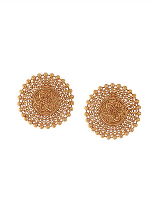 Gold Plated Temple Work Stud Earrings