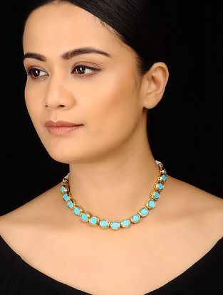 Turquoise Gold Tone Choker Necklace
