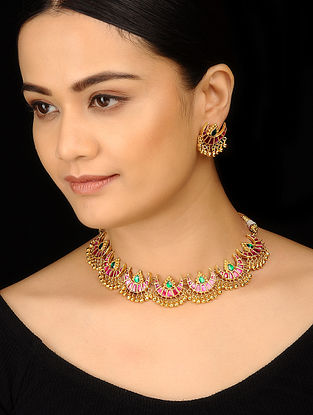 Red Green Gold Tone Polki Necklace with Earrings