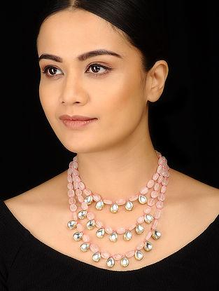 Pink Kundan Inspired Rose Quartz Necklace
