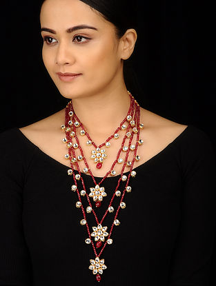 Red Gold Tone Kundan Inspired Stones Necklace