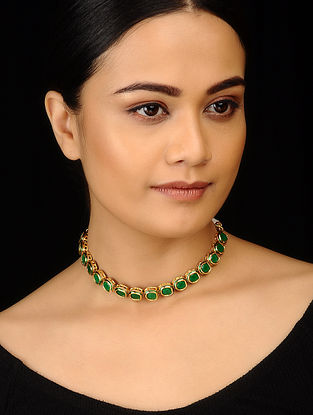 Green Gold Tone Choker Necklace