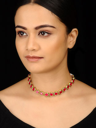 Red Gold Tone Choker Necklace