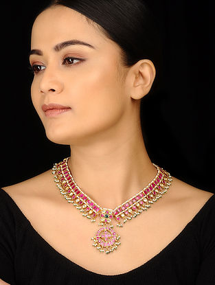 Red Gold Tone Polki and Pearls Choker Necklace
