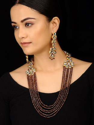 Brown Gold Tone Kundan Inspired Stone Necklace with Earrings (Set of 2)
