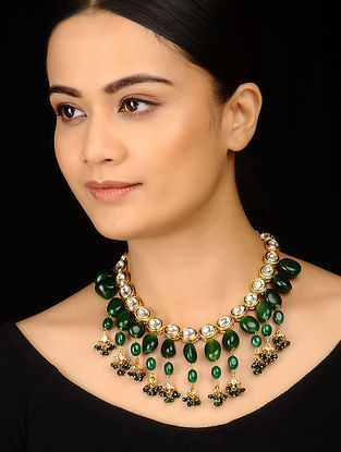 Green Gold Tone Kundan Inspired Stones Necklace