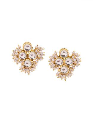 Classic Gold Tone Kundan Inspired Pearl Stud Earrings