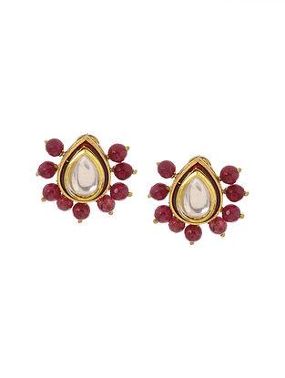 Red Gold Tone Kundan Inspired Stud Earrings