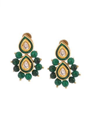 Green Gold Tone Kundan Inspired Stud Earrings