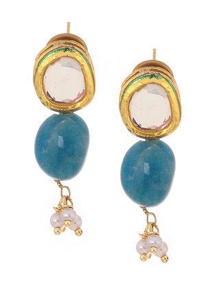 Blue Gold Tone Kundan Inspired Stud Earrings