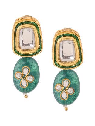 Teal Gold Tone Kundan Inspired Stud Earrings