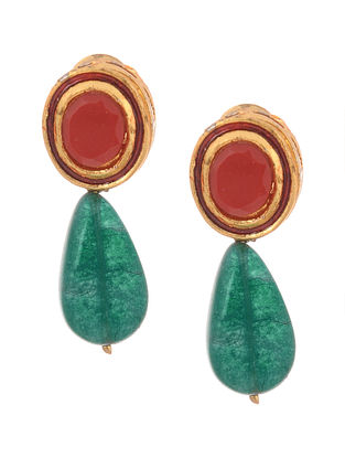 Green Red Gold Tone Kundan Inspired Stud Earrings