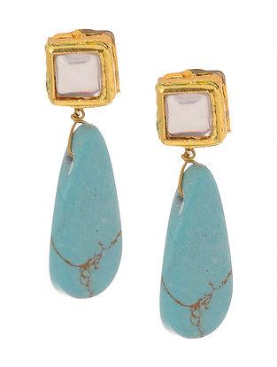 Turquoise Gold Tone Kundan Inspired Stud Earrings