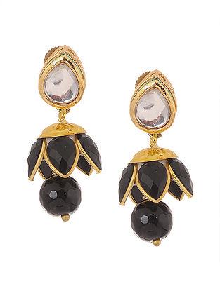 Black Gold Tone Kundan Inspired Patchi Jhumki