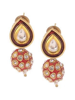 Red Gold Tone Kundan Inspired Meenakari Stud Earrings