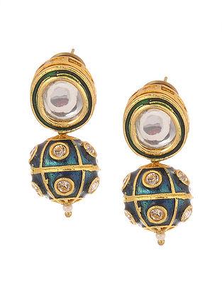 Blue Gold Tone Kundan Inspired Meenakari Stud Earrings