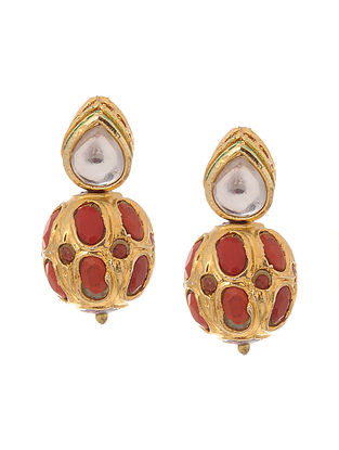 Coral Gold Tone Kundan Inspired Stud Earrings