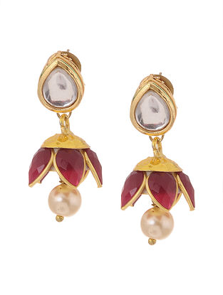 Red Gold Tone Kundan Inspired Patchi Jhumkis