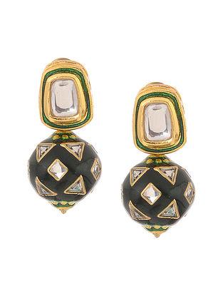 Green Gold Tone Kundan Inspired Meenakari Stud Earrings