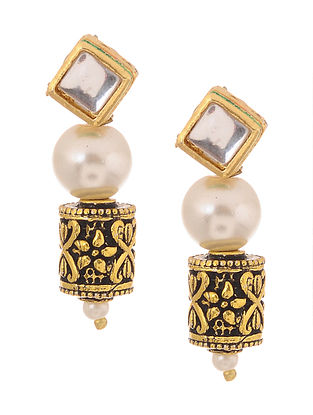 Black Gold Tone Kundan Inspired Thewa Stud Earrings