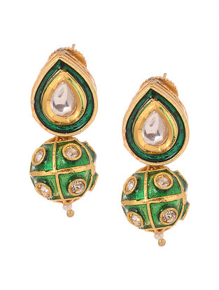 Green Gold Tone Kundan Inspired Meenakari Stud Earrings