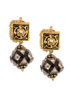 Black Gold Tone Kundan Inspired Meenakari Earrings
