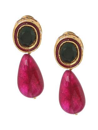 Red Green Gold Tone Earrings