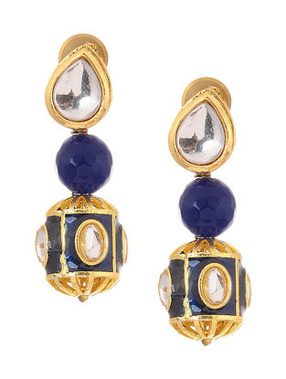 Blue Gold Tone Kundan Inspired Earrings