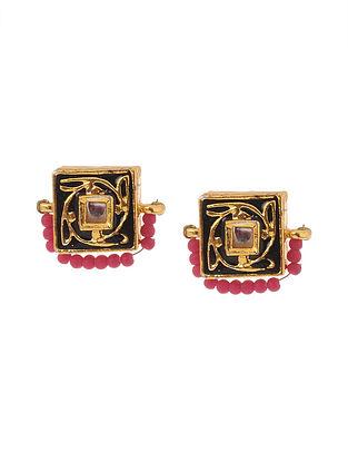 Black Pink Gold Tone Meenakari Stud Earrings