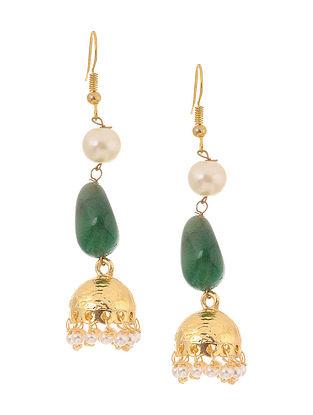 Green Gold Tone Kundan Inspired Jhumkis
