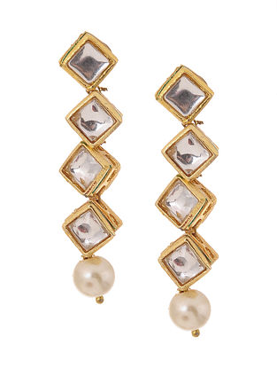 Classic Gold Tone Kundan Inspired Pearl Earrings