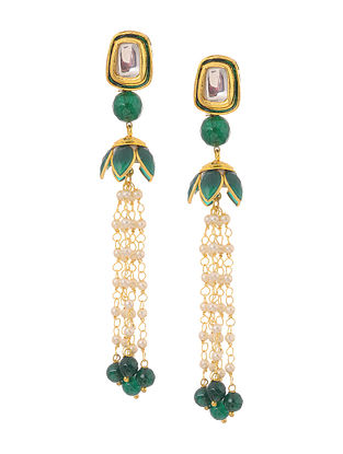 Green Gold Tone Kundan Inspired Patchi Jhumkis