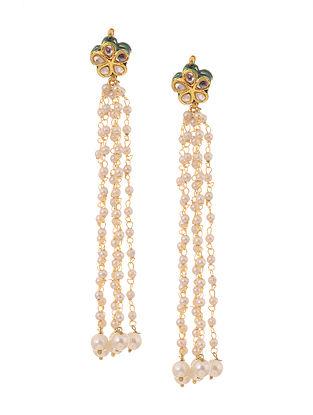 Green Gold Tone Kundan Inspired Pearl Tassel Earrings