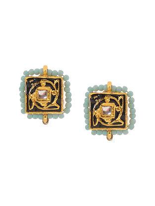 Turquoise Black Gold Tone Meenakari Stud Earrings