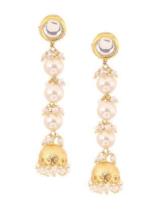 Classic Gold Tone Kundan Inspired Pearl Jhumkis