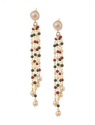 Red Green Gold Tone Pearl Tassel Earrings