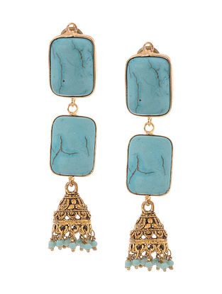 Turquoise Gold Tone Jhumki