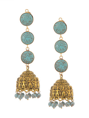 Turquoise Gold Tone Jhumkis