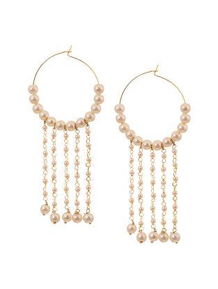 Classic Gold Tone Pearl Tassels Hoops