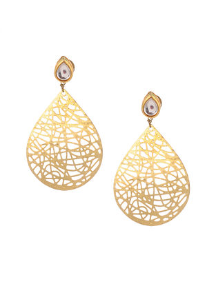 Classic Gold Tone Kundan Inspired Filigree Earrings