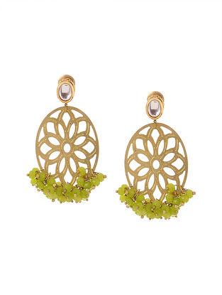 Green Gold Tone Kundan Inspired Filigree Earrings