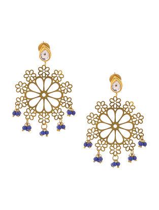 Blue Gold Tone Kundan Inspired Filigree Earrings